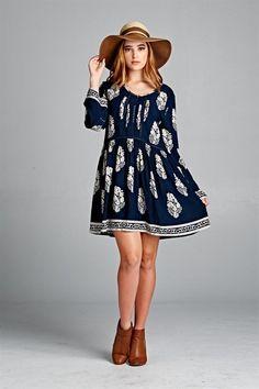 Boho Beauty Junior Plus Size  Mini Dress Navy Blue Print 1XL 2XL 3XL
