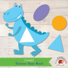 Dinosaur Shape Match by Busy Little Bugs Educational Printables