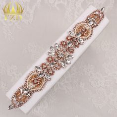 (30pieces) Wholesale Handmade Hot Fix Sew On Beaded Stones and Crystal Rose Gold…