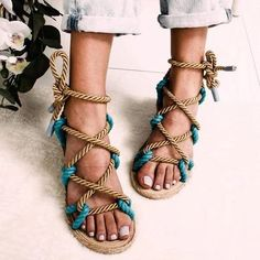 Women Sandals 2019 Fashion Summer Shoes Woman Flat Sandals Hemp Rope Lace Up Gladiator Sandals Non-slip Beach Chaussures Femme Rope Sandals, Lace Up Gladiator Sandals, Shoes Flats Sandals, Open Toe Sandals, Flat Sandals, Summer Sandals, Flat Shoes, Sandals Outfit, Slide Sandals
