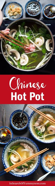 Chinese hot pot is a social way of eating, where ingredients are cooked at the table in a pot of hot stock and then dipped into a tasty sauce. Check out this detailed guide to learn everything you need to know to make hot pot at home, including a basic Chili Recipes, Asian Recipes, Soup Recipes, Dinner Recipes, Healthy Recipes, Chinese Recipes, Dinner Ideas, Ethnic Recipes, How To Cook Beef
