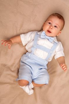 Baby boy linen suit Ring bearer outfit Boy baptism shorts with suspenders First birthday clothes Wed Baby Outfits, Toddler Outfits, Kids Outfits, Blue Linen Suit, Baby Boy Baptism Outfit, Baby Baptism, Suspenders For Boys, Boys Suits, Navy Suits