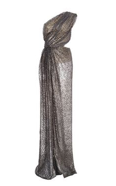 Silk Burnout Velvet One Shoulder Gown by Monique Lhuillier for Preorder on Moda Operandi