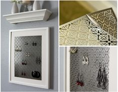 Framed jewelry display made from a radiator grate