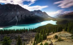Download wallpapers mountain lake, Canada, forest, glacial lake, mountains