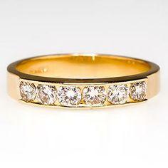 Diamond Wedding Band Ring 6-Stone 14K Gold - EraGem