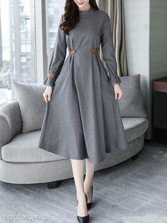 Moda Vestidos Largos Elegantes For 2019 Modest Fashion, Hijab Fashion, Fashion Dresses, Plaid Dress, Dress Skirt, Modest Dresses, Casual Dresses, Grey Dresses, Classic Dresses