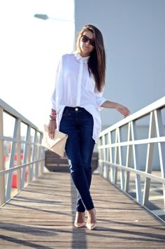 sheer white top with skinnies