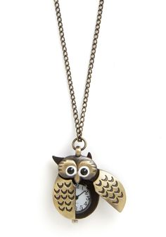 Owl Be Watching You Necklace. With your busy schedule, its easy to lose track of time. #black #modcloth