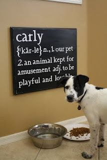 Great DIY sign for your pet, I'd change the definition though. Zig isn't kept for our amusement, he's a furry family member.