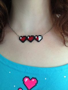 Zelda Hearts Necklace by PixelPlastik on Etsy