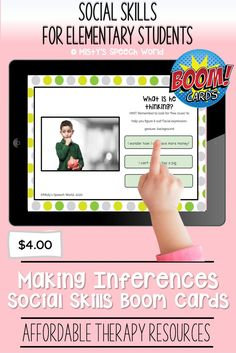 $4.00 · If you're looking for Boom cards for speech therapy to target social skills kids, these cards are just what you are looking for. This is a NO prep speech therapy activity: Buy now and you are ready to go! Find this and many more therapy resources for kids at Misty's Speech World! Buy now: to purchase this deck, click on this pin and purchase to add this therapy resource to your speech therapy toolkit!