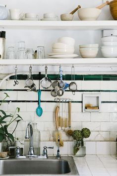 Tumblr vintage wall tiles, enamel spoon and artichokes