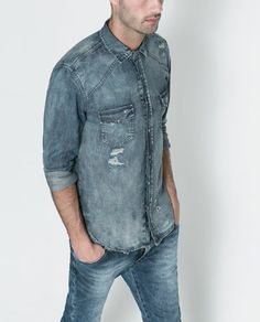 ZARA - MAN - RIPPED DENIM SHIRT