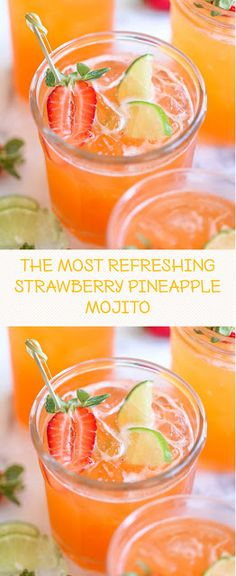 You can easily transform this strawberry pineapple mojito to a non-alcoholic drink! Sweet tropical twist to everyone's favorite cocktail! This recipe perfect for parties and entertaining. Fruity Drinks, Refreshing Drinks, Fun Drinks, Mixed Drinks, Cocktails, Cocktail Drinks, Cocktail Recipes, Cocktail Ideas, Recipes Dinner
