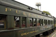 Pullman Car on Steam Train  Steam train in Essex, Connecticut on an overcast fall day
