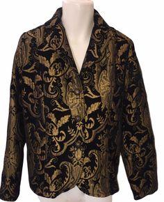 Dressy Copper Black Blazer Size 1x  Brocade over Corduroy Fully Lined #ELCC…