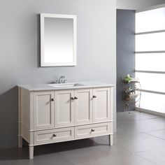 Simpli Home Chesapeake 48-in. Single Bathroom Vanity - Peak style and function combine in the Simpli Home Chesapeake 48-in. Single Bathroom Vanity, a great catch for your home. Stylishly clean design p...