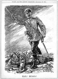 """Hail! Russia!"". Cartoon by Bernard Partridge. Published in Punch 16th September 1914"