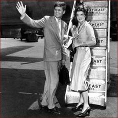 US president John F. Kennedy (JFK) & Jackie Kennedy: right hand waving photo