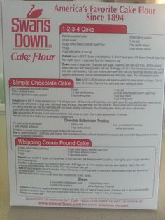 recipes from cake flour boxes | There is a photo of a Swansdown box with a recipe called Simple ...