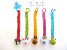 Pacifier holders with Teddy Bear, Bunny, Giraffe, Unicorn and the Frog - Nipiti Bonbons - appliques 3D