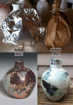 El interior tanto de la hoja y de la bolsa de papel, fue rociado con spray para el cabello, y luego sal y sulfato de cobre rociada sobre ambos. El saggar papel tenía el acabado de la superficie más lisa.