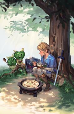 Video game logic 859132066401120507 - Legend of Zelda Breath of the Wild art > Link cooking and sharing food with the koroks Source by Angrydoll The Legend Of Zelda, Legend Of Zelda Memes, Legend Of Zelda Breath, Breath Of The Wild, Ocarina Of Time, Link Botw, Pokemon, Pikachu, Link Zelda