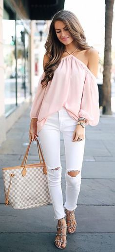 #spring #outfits Pink Open Shoulder Blouse & White Ripped Skinny Jeans & Checked Tote Bag