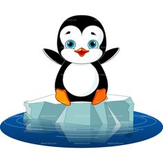 CLIPART HAPPY PENGUIN ON ICE | Royalty free vector design