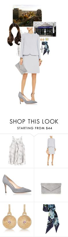 """""""Untitled #2267"""" by duchessq ❤ liked on Polyvore featuring Rebecca Taylor, Goat, Gianvito Rossi, Atterley, Gucci and Cartier"""