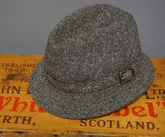 5b4261ef VTG Lock & Co Tweed Wool Fedora Hat Brooks Brothers Made in England 6 7/8 56