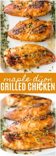 Maple Dijon Grilled Chicken - Maple syrup and Dijon mustard are a match made in heaven and taste delicious on a grilled chicken breast. #ad