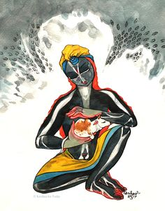 Onslaught of the indriyas and Goverdhan. #watercolour #krishnafortoday