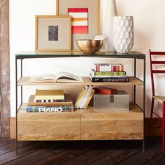 Glass-Topped Rustic Storage Console