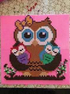 Owl Crochet Patterns, Pearler Bead Patterns, Owl Patterns, Perler Patterns, Beading Patterns, Perler Beads, Perler Bead Art, Fuse Beads, Pearl Beads Pattern