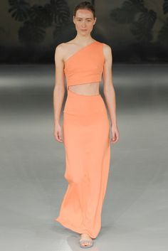 Barbara Casasola | Spring 2015 Ready-to-Wear | 05 Orange cut out one shoulder maxi dress