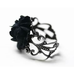 Black Rose Ring in Silver - Adjustable (€16) ❤ liked on Polyvore featuring jewelry, rings, silver jewelry, vintage rose ring, filigree ring, silver jewellery and cabochon ring