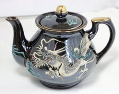 Vintage Moriage Dragonware Teapot - Made in Japan - Dark brown Teapot with white dragon accent with blues and gold - Edit Listing - Etsy