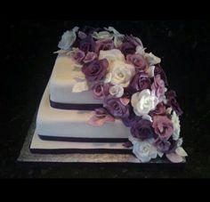 Small.purple cascade wedding cake