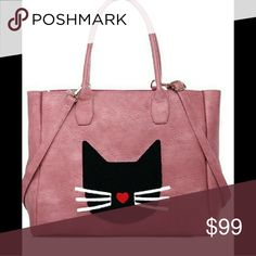 """😻Hot new arrival🔥 Pale pink cat bag Spacious travel friendly tote bag, featuring an eye 'cat'ching design 😆😹 Features: -Dual top handles -Detachable, adjustable shoulder strap -Top zip closure -Interior has one zip pocket and 2 slip in pockets -Vegan leather -Approx. 15""""L x 13""""H x 6.5D -Handle drop 9 inches MinX Bags"""