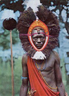 Africa | Masai warrior.  A scanned postcard image.