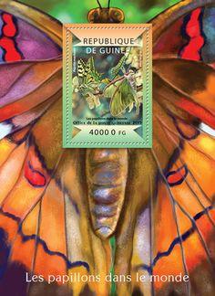 Post stamp Guinea-Bissau GU 15102 bButterflies of the World (Papilio machaon, Actias luna)