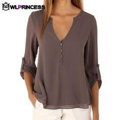 deep v neck button long sleeve chiffon shirts solid – Ashley`s Loft