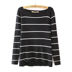Boat Neck Striped Black Sweater (545 THB) ❤ liked on Polyvore featuring tops, sweaters, black, loose pullover sweater, striped pullover, boatneck sweater, loose tops and striped boatneck sweater