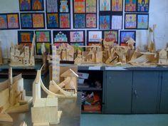 Room 9: Art!: Beginning To Build! Wonderful idea for scrap materials!