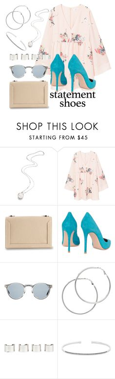 """""""Double Take: Statement Shoes"""" by may-calista ❤ liked on Polyvore featuring Eddie Borgo, MANGO, 3.1 Phillip Lim, Gianvito Rossi, Oliver Peoples, Melissa Odabash, Maison Margiela, Anne Sisteron and statementshoes"""