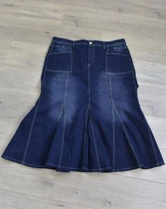 """""""Camilla"""" Plus sized skirt available A Line Denim Skirt, High Waisted Denim Skirt, Denim Skirts, A Line Skirts, Modest Skirts, Modest Outfits, Athletic Skirts, Sports Skirts, Denim Flares"""