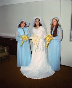 Bride and bridesmaids Approx 1970's  Those floppy hats were all the rage for weddings back in the early 70s.