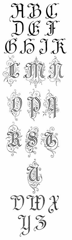 Gothic modified capital letters with coils and spirals